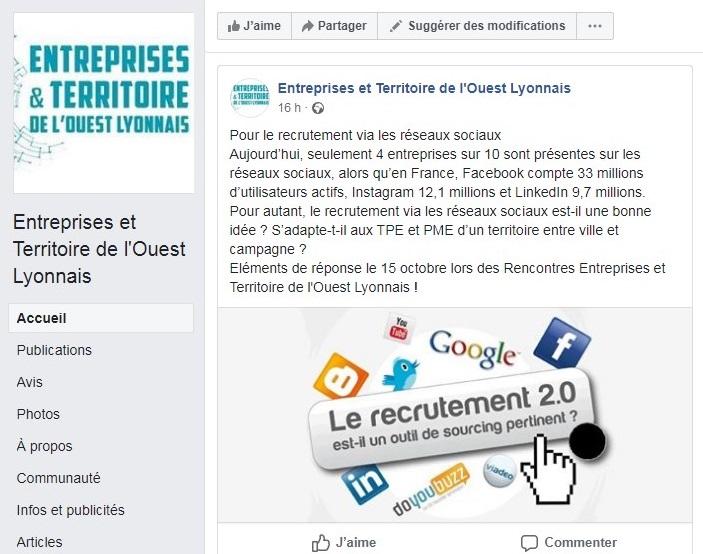 Suivez l'actu Facebook des rencontres entreprises et territoire de l'Ouest Lyonnais !